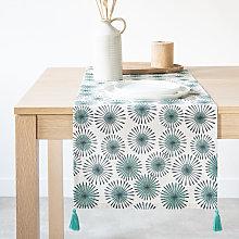 Camino de mesa de algodón con motivos decorativos