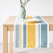 Camino de mesa de algodón tejido con rayas y