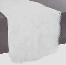 Camino de mesa de imitación de piel blanco L.
