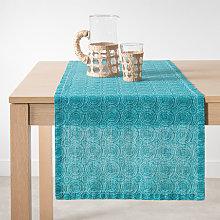 Camino de mesa de lino con estampado gráfico azul