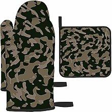 Camuflaje militar verde oscuro con guantes de