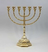 Candelabro menorá hebreo de latón pulido, con