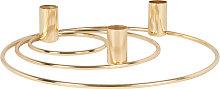 Candelabro triple con círculos de metal dorado