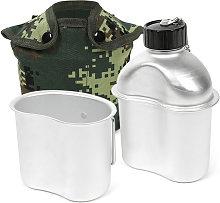 Cantina militar portatil de aluminio de 0.8L / 1L