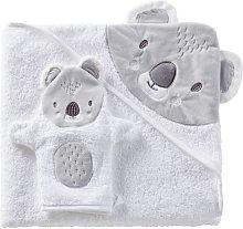 Capa de baño de bebé de algodón blanco y gris