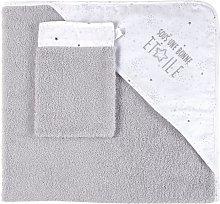 Capa de baño de bebé de algodón gris y blanco
