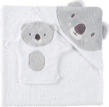 Capa de baño para bebé de algodón blanco y gris