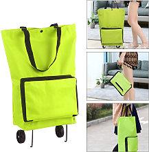 Carrito de la compra plegable bolsa de viaje con ruedas plegable cesta de la compra plegable reutilizable de comestibles y Bolsas, Verde