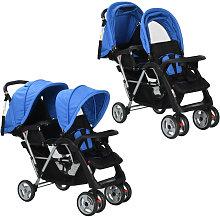 Carrito para dos bebes tandem azul y negro de acero