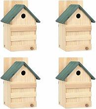 Casa para pájaros 4 unidades madera de abeto