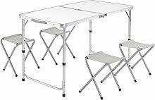 Casaria Mesa de aluminio plegable XXL 4 taburetes