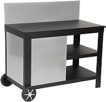 CASTELO - Cocina para exterior XL con ruedas negra