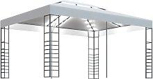Cenador con tira de luces blanco 4x3x2,7 m - Blanco