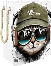 Cesta de Almacenamiento Gato Escuchando música