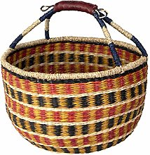 Cesta de mimbre Bolga tejida para pícnic, cesta