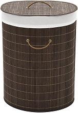 Cesto de la ropa de bambú ovalado marrón oscuro