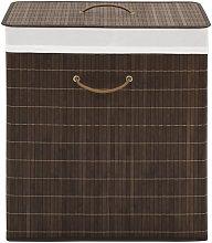 Cesto de la ropa de bambú rectangular marrón