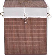 Cesto de la ropa de bambú rectangularmarrón Vida