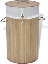 Cesto de la ropa de bambú redondo color natural
