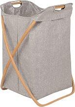 Cesto para la ropa gris de bambú