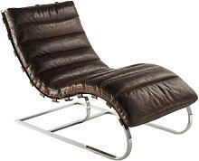 Chaise longue de cuero marrón