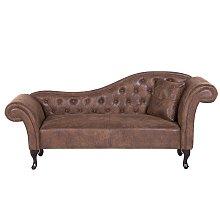 Chaise longue en piel sintética marrón claro