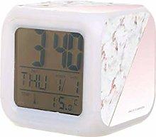 Chic oro rosa mármol LED reloj despertador