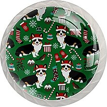 Christmas Corgi - Juego de 4 pomos para gabinete