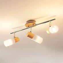Christoph - foco de techo LED, 3 bombillas, madera
