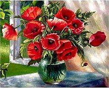 CHXFit Pintura de flores por número Jarrón Kit