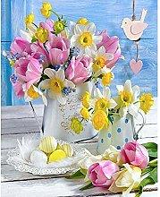 CHXFit Pintura por números Flores Dibujo de