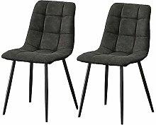 CLIPOP Juego de 2 sillas de comedor de piel gris