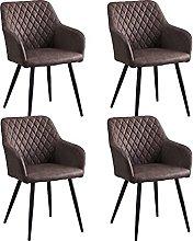 CLIPOP Juego de 4 sillas de comedor de piel