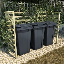 Cobertizo triple basura 210x80x150 cm madera pino