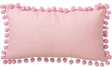 Cojín con borlas rosa infantil de microfibra de