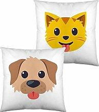 Cojín Con Relleno Emoji Dog And Cat (40 X 40 Cm)