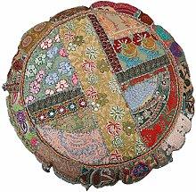Cojín de algodón indio decorativo, redondo,