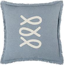 Cojín de exterior de algodón con relieve azul y