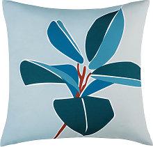 Cojín de exterior verde y azul estampado floral