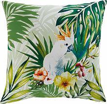 Cojín de jardín de tela con estampado tropical