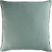 Cojín de lino lavado verde grisáceo 60x60