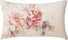 Cojín de lino rosa con estampado floral 30x50