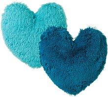 Cojín de pelo azul infantil de microfibra de