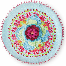 Cojín decorativo WILD ROSE azul 55x55 cm -