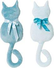 Cojín gato infantil azul de microfibra de 27x50