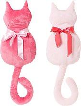 Cojín gato infantil rosa de microfibra de 27x50