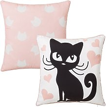 Cojín gato infantil rosa de microfibra de 45x45