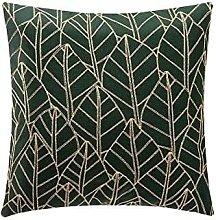 Cojín Lleno Bordado Cadena Verde Decorativo