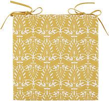 Cojín para silla de algodón amarillo con motivos