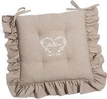 Cojín para silla de algodón beige